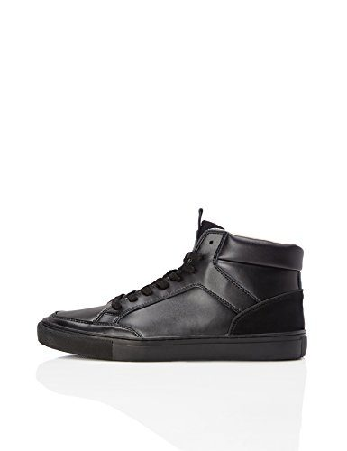 FIND Sneaker Herren High Tops mit Retro-Design, Schwarz (Black), 44 EU
