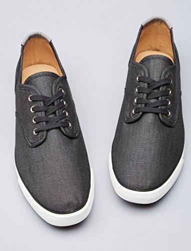 FIND Sneaker Herren Aus Stoff mit Denim-Look, Schwarz (Black), 45 EU