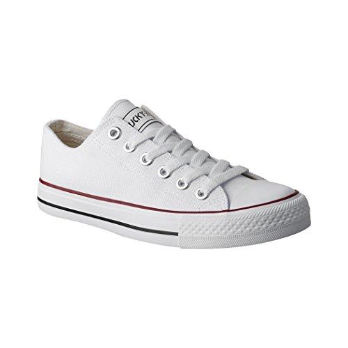 Elara Unisex Sneaker | Bequeme Sportschuhe für Damen und Herren | Low Top Turnschuh Textil Schuhe 36-46 01-A-Weiss-40