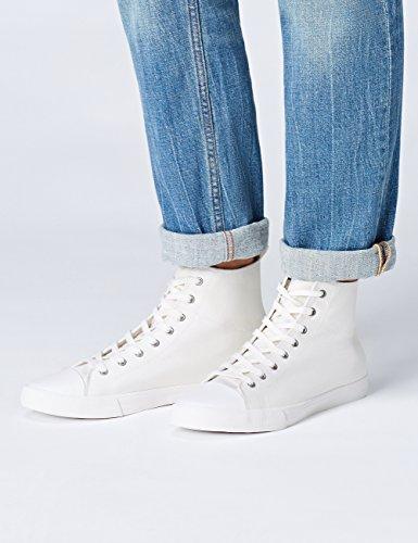 FIND Sneaker Herren Canvas-High Tops mit Retro-Design, Weiß (White), 43 EU