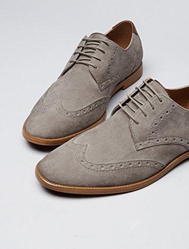 FIND Derby Schuhe Herren mit Brogue-Design, rauem Kunstleder und Lochverzierungen, Grau (Grey), 47 EU