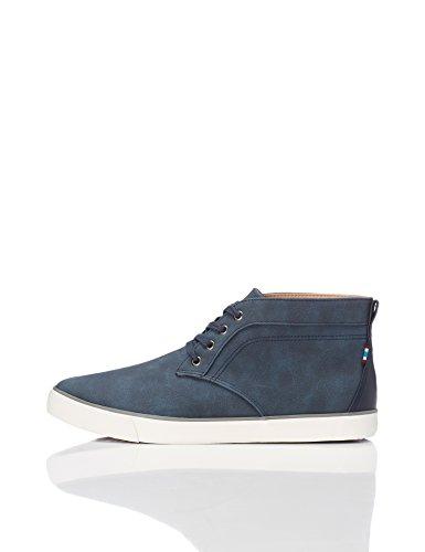 FIND Sneaker Herren High-Top mit Wildleder-Optik, Blau (Navy), 43 EU