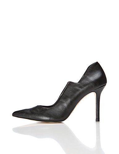 FIND Pumps Damen mit Pfennigabsätzen, Spitzer Vorderkappe und gestuftem Fußausschnitt, Schwarz (Black), 39 EU