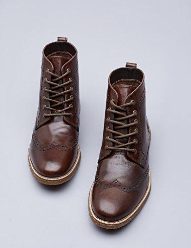 FIND Stiefel Herren Aus Nappaleder mit Brogue-Design, Braun (Brown), 44 EU