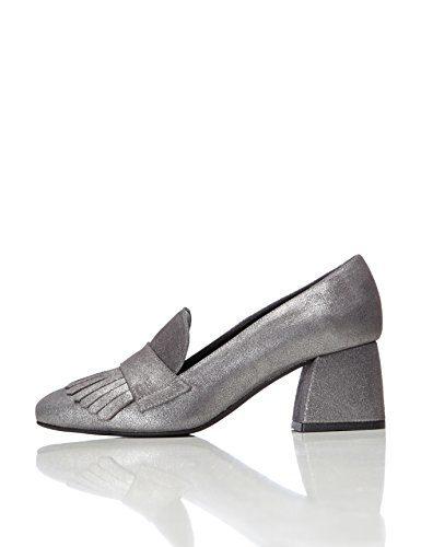 FIND Schuhe Damen mit Schlangenleder-Optik und Tasseln, Silber (Silver), 37 EU