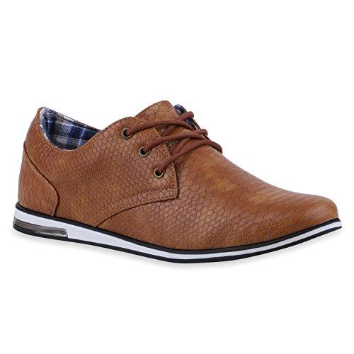 Stiefelparadies Modische Herren Business Schnürer Halb Sneakers Prints Leder-Optik Freizeit Schuhe 120054 Braun 42 Flandell