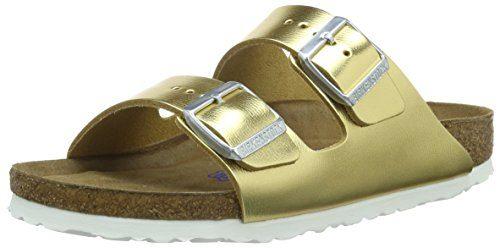 BIRKENSTOCK Classic Arizona Leder, Damen Pantoletten, Gold (Metallic Gold), 37 EU