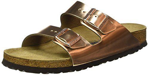 BIRKENSTOCK Classic Damen Arizona Leder Softfootbed Pantoletten, Gold (Metallic Copper), 43 EU