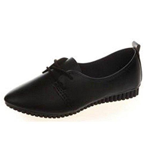 Ballerinas Klassische Übergrößen Damen Schuhe Elegante Slippers Flache Schuhe Geschlossene Tanzschuhe Basic Übergangsschuhe Freizeitschuhe LMMVP (38EU, Schwarz)
