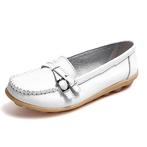 Damen Loafers Schuhe Mokassins Plateau Leder Slipper Halbschuhe Casual Sneaker Weiß 41