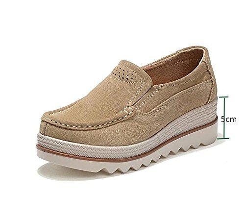 Damen Mokassins Plateau Wildleder Schlupf Loafers Halbschuhe Sneaker mit Keilabsatz 5cm Schwarz Blau Khaki 35-42 Khaki 39