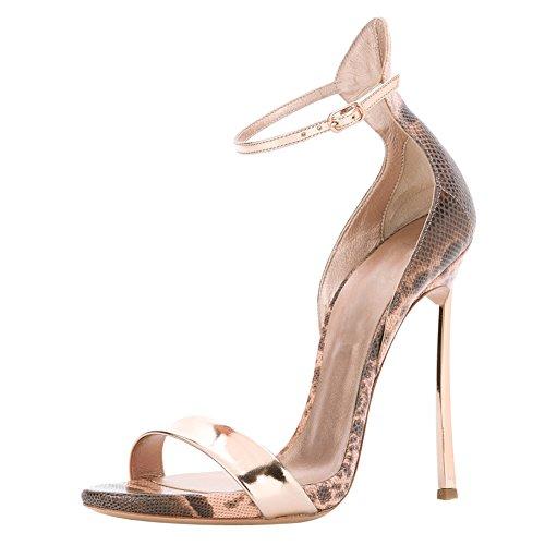 Damen Open Toe Sandalen High-Heels Stiletto Mischfarben Knöchelriemchen Schlangenhaut EU37