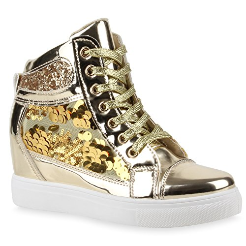 Damen Sneaker-Wedges Sneakers Sport Keilabsatz Zipper Schnürer High Top Wedge Sneaker Schuhe 111258 Gold 37 Flandell