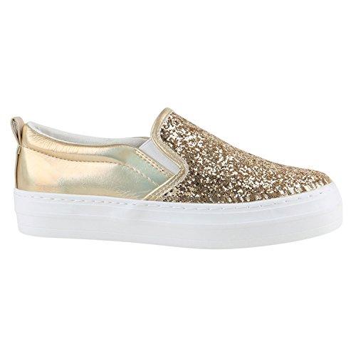 Damen Sneakers Sneaker Slip-Ons Plateau Slipper Plateau Strass Neon Blumen Flats Animal Prints Freizeit Schuhe 142155 Gold 39 Flandell