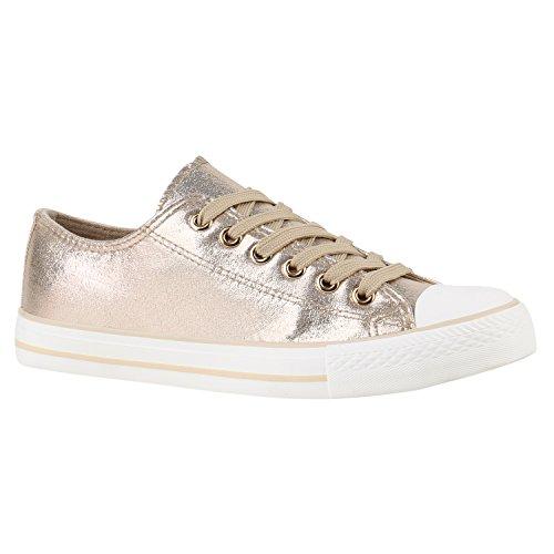 Damen Sneakers Sport Sneaker Low Denim Stoff Blumen Camouflage Schuhe 144203 Gold Camiri 38 Flandell