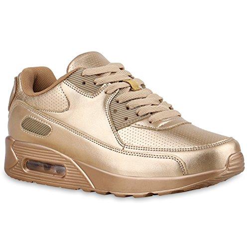 Damen Sport Lack Sneakers Schnürer Sneaker Low Lauf Runners Neon Leder-Optik CamouflageGlitzer Schuhe 135844 Gold All 40 Flandell