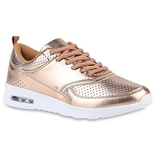 Damen Sport Runners Sneakers Lauf Fitness Trendfarben Sportliche Schnürer Schuhe 142949 Rose Gold 37 Flandell