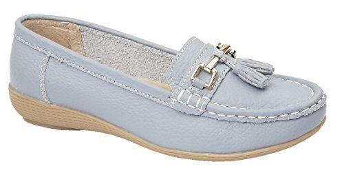 Damen Wohnungen Leder Deck Boot Loafer Mokassins Driving Schuhe mit Bar & Quasten Größe UK 3-8, Blau - babyblau - Größe: 42/8 UK