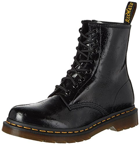 Dr. Martens 1460 QQ Flowers BLACK, Damen Combat Boots, Schwarz (Black), 42 EU (8 Damen UK)
