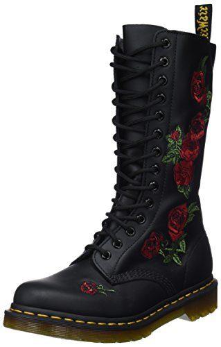 Dr. Martens VONDA Embroidery BLACK, Damen Combat Boots, Schwarz (Black), 42 EU (8 Damen UK)