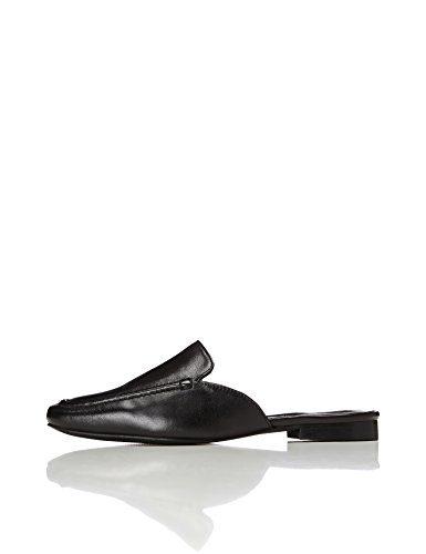FIND Slipper Damen Mules Aus Leder, mit Dekorativer Naht, Schwarz (Black), 38 EU