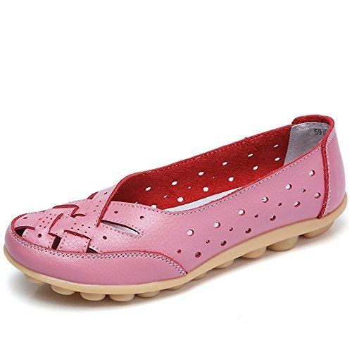 Gaatpot Damen Leder Schuhe Mokassin Bootsschuhe Leicht Atmungsaktiv Rutschfest Slip on Frauen Casual Schuhe Komfort Flatschuhe Sommer Sandals