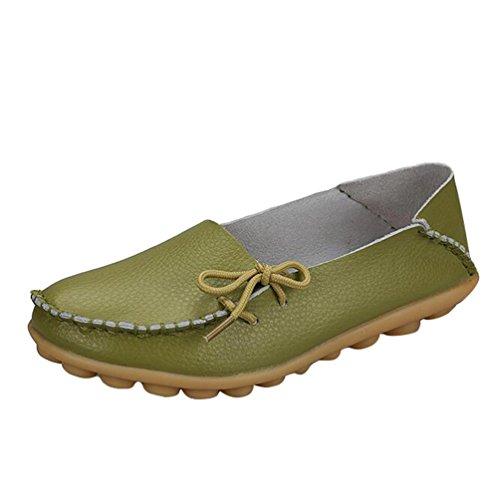 Heheja Damen Freizeit Flache Schuhe Low-Top Mokassin Loafers Erbsenschuhe Grün Asia 38 (24cm)
