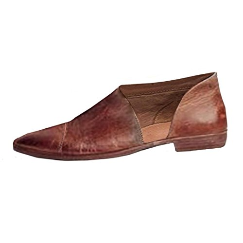 Hot Sale!Sandalen Damen, Sonnena Frauen Frühling Fashion Casual spitz flache Schuhe nackt Schuhe PU/Solid/Square Heel/Knöchel/Spitze Zehe/Gummi/Mode (Sexy Braun, 37)
