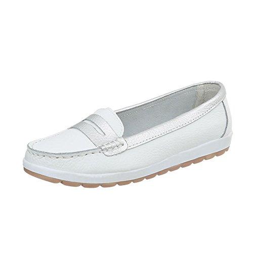 Ital-Design Mokassins Leder Damen-Schuhe Moderne Halbschuhe Weiß, Gr 42, 5005-
