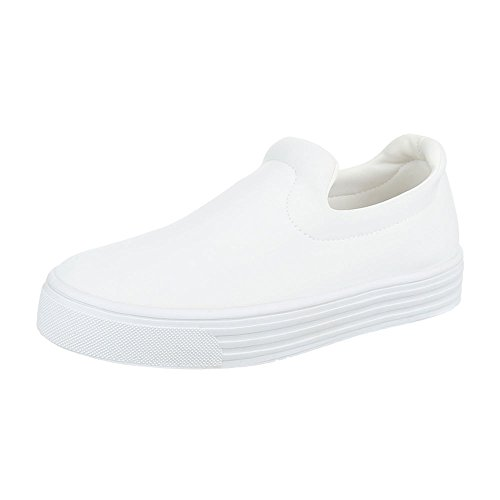Ital-Design Slipper Damen-Schuhe Low-Top Moderne Halbschuhe Weiß, Gr 36, F04-