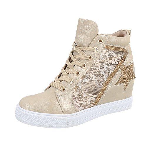 Ital-Design Sneakers High Damen-Schuhe Sneakers High Keilabsatz/Wedge Keilabsatz Schnürsenkel Freizeitschuhe Gold, Gr 37, Jk-53-