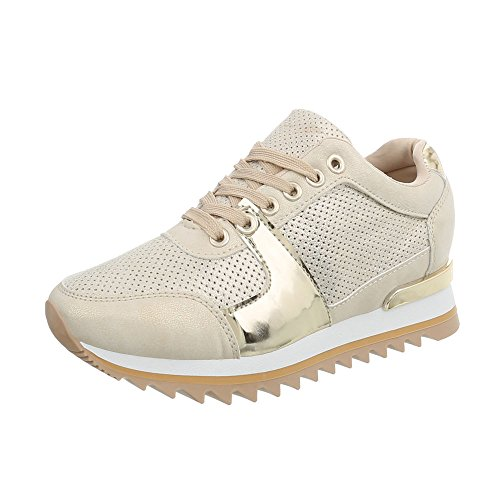 Ital-Design Sneakers Low Damen-Schuhe Keilabsatz/Wedge Schnürsenkel Freizeitschuhe Beige Gold, Gr 39, G-128-
