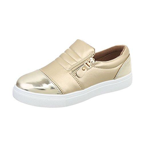Ital-Design Sneakers Low Damen-Schuhe Sneakers Low Moderne Reißverschluss Freizeitschuhe Gold, Gr 40, D20-