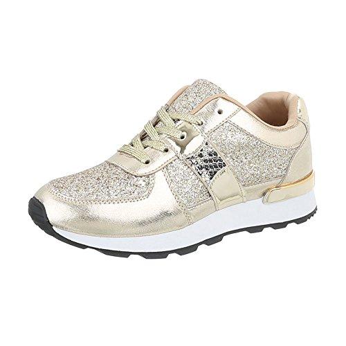 Ital-Design Sneakers Low Damen-Schuhe Sneakers Low Sneakers Schnürsenkel Freizeitschuhe Gold, Gr 39, G-102-