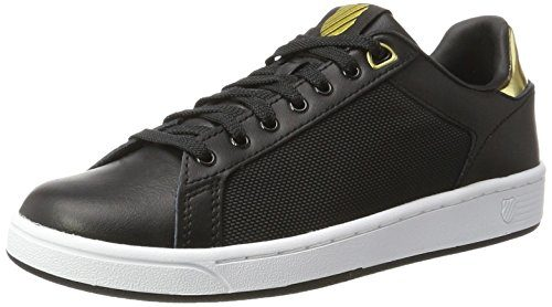 K-Swiss Damen Clean Court CMF Sneakers, Schwarz(Black/White/Gold 099), 39 EU