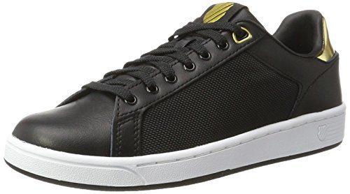 K-Swiss Damen Clean Court CMF Sneakers, Schwarz(Black/White/Gold 099), 39 EU