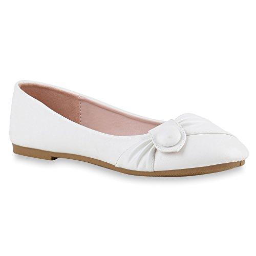 Klassische Damen Ballerinas Leder-Optik Flats Übergrößen Flache Slipper Spitze Prints Strass Schuhe 141149 Weiss Knopf 40 Flandell