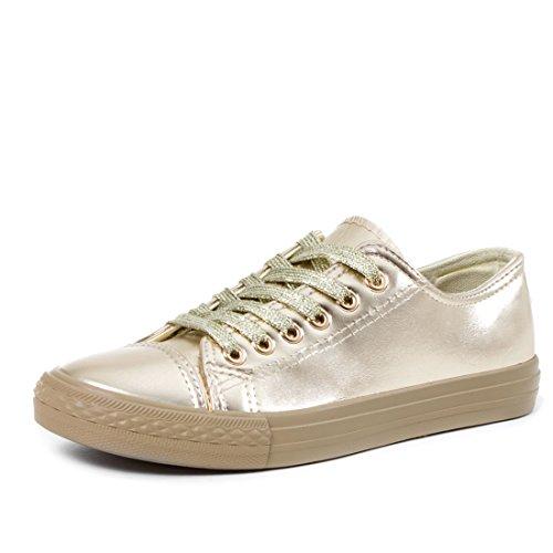 Klassische Damen Schuhe Low High Top Sneaker Metallic Turnschuhe Gold 36