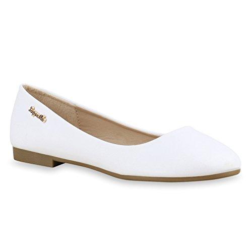 Klassische Damen Strass Ballerinas Elegante Slipper Übergrößen Metallic Glitzer Flats Schuhe 134612 Weiss Gold 39 Flandell