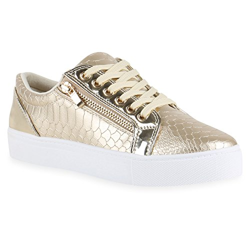 Metallic Damen Sneakers Lack Sneaker Low Glitzer Zipper Animal Prints Freizeit Sport Damen Leder-Optik Schuhe 131971 Gold 38 Flandell