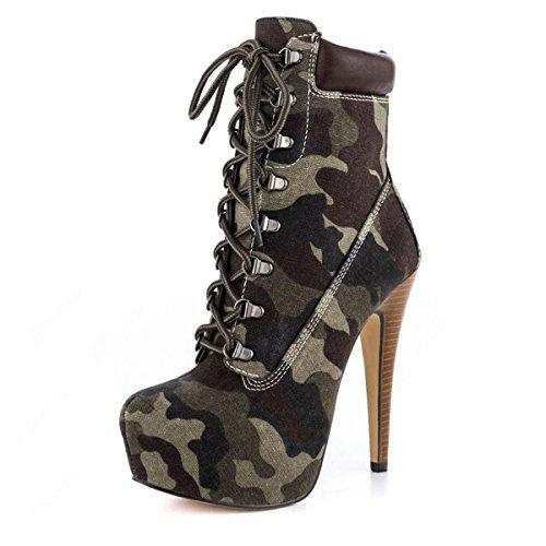 Onlymaker Damen Mandel Zehenkappe Camouflage Nieten Schn¨¹rsenkel Stiletto Stiefeletten dunkelcamouflage EU44