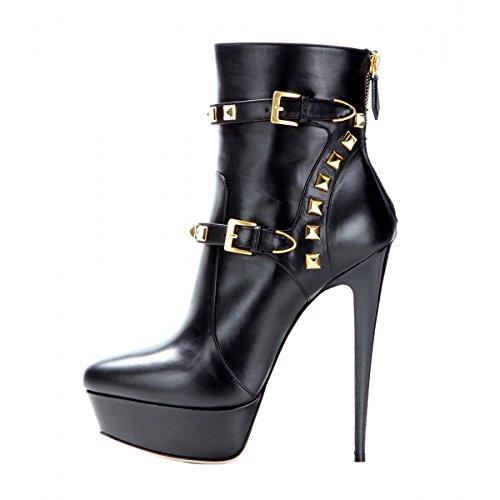 Onlymaker Damen Pumps Stiletto Kurzschaft Stiefel High Heels Boots Schuhe mit Plateau Nieten Schwarz EU40