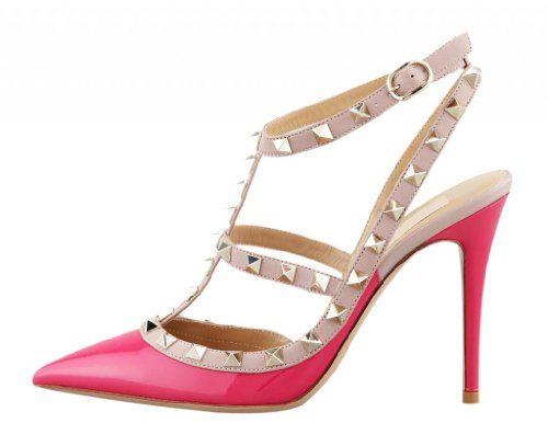 Onlymaker Damenschuhe High Heels Spitze Toe Schnalle Slingback Sandale Glattleder Pink EU38