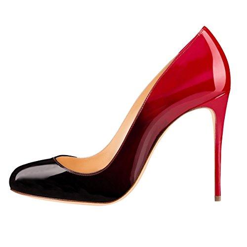 Onlymaker Damenschuhe Pumps Stiletto High Heels Klassisch Mehrfarbig Party Schwarz und Rot EU37
