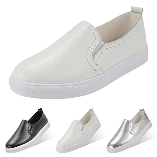 QIMAOO Damen Classic Slip-on Low-Top Slipper Loafer Schuhe Lederimitat Bequem Sneaker