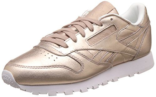 Reebok Classic Leather L Damen Niedrig Schuhe, Gold (Pearl Met-Peach/White), 40.5 EU