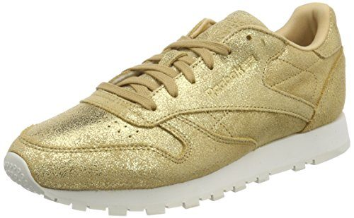 Reebok Damen Classic Leather Shimmer Sneaker, Gelb (Gold/Chalk Cn0574), 37.5 EU