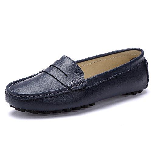 Ruiatoo Damen Mokassins Slipper Slip-on Leder Bequem Schuhe Halbschuhe Freizeit Blau DE 40,5