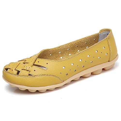 SCIEU Damen Mokassin Bootsschuhe Hohl Leder Loafers Schuhe Flache Fahren Halbschuhe Slippers, Gelb 39