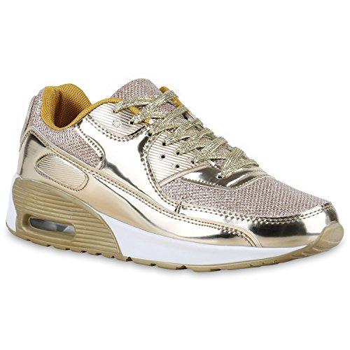 Stiefelparadies Damen Herren Unisex Sport Glitzer Lack Prints Zipper Neon Lauf Runners Trainers Übergrößen Schuhe 132517 Gold Lack Bexhill 38 Flandell